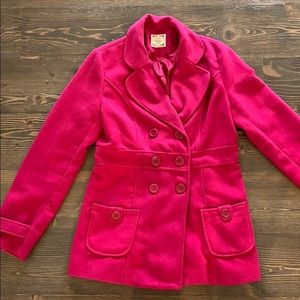 Pink Pea Coat With Pockets